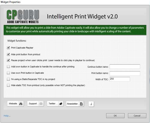 Intelligent Print Widget for Adobe Captivate