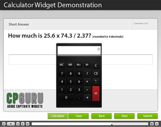 Calculator Widget for Adobe Captivate