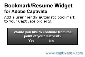 Bookmark / Resume Widget for Adobe Captivate 3 and 4