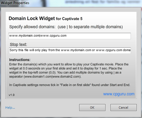 Domain Lock Widget for Adobe Captivate 5 properties