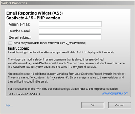 AS3 Email Reporting Widget Properties