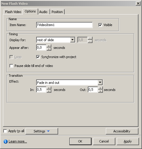 FLV options for Adobe Captivate