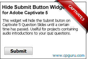 Hide Submit Button Widget for Adobe Captivate