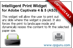 Intelligent Print Widget for Adobe Captivate 4 and Adobe Captivate 5