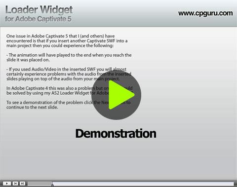 Demonstration of the Loader Widget for Adobe Captivate 5