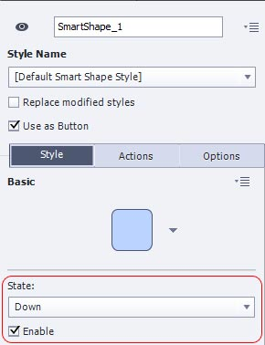 Adobe Captivate 8 allows you to define up, over and down states for Smart Shapes when using them as buttons.
