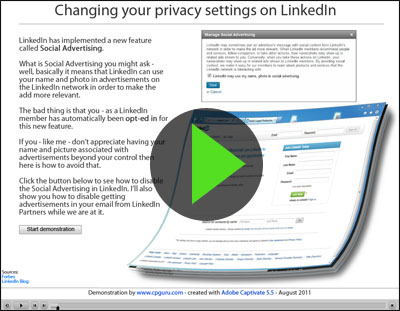 Start the tutorial on how to disable Social Advertising in LinkedIn