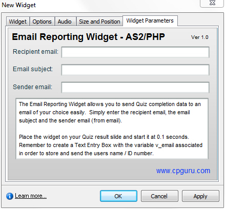 Email Reporting Widget for Adobe Captivate Parameters Tab