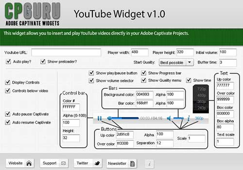 YouTube Widget for Adobe Captivate Properties Panel