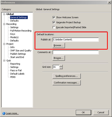 Changing the default publish location in Adobe Captivate