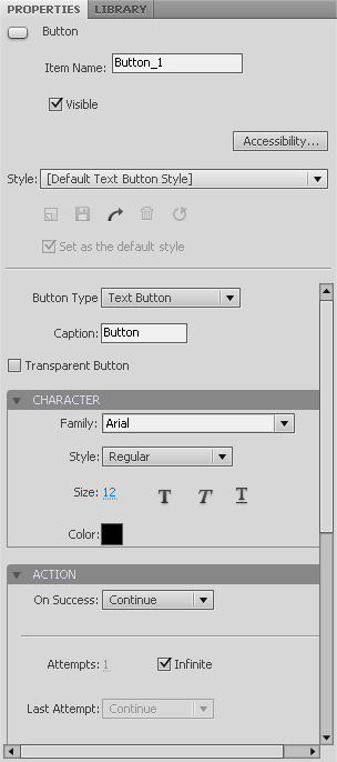 Adobe Captivate 5 Button Properties
