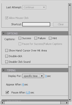 Adobe Captivate 5 Button Properties continued