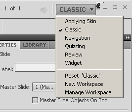 Adobe Captivate 5 - swith between workspaces