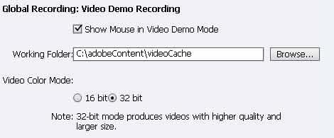 Adobe Captivate 6 Video Working folder changed