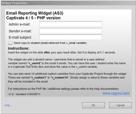 AS3 Email Reporting Widget Properties