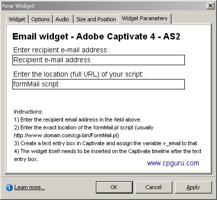 emailWidgetParameters