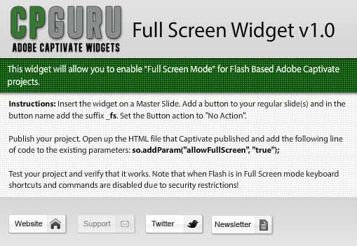 Full Screen Widget for Adobe Captivate Properties view