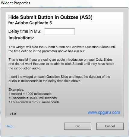 Hide Submit Button Widget Properties