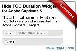 Hide TOC Duration Widget for Adobe Captivate