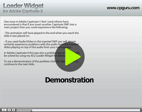 Demonstration of the Loader Widget for Adobe Captivate 5